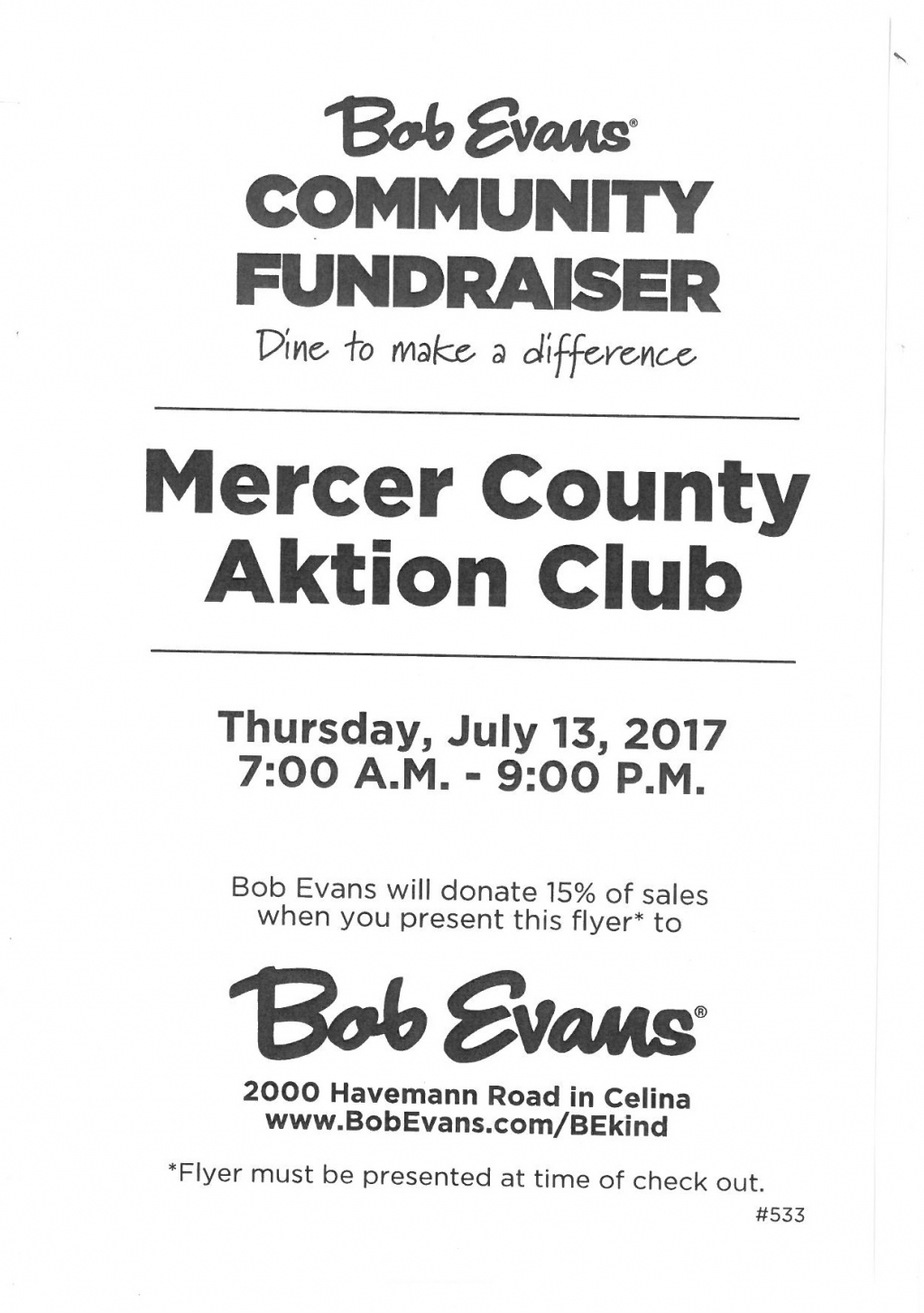 Mercer County Aktion Club Community Fundraiser at Bob Evans