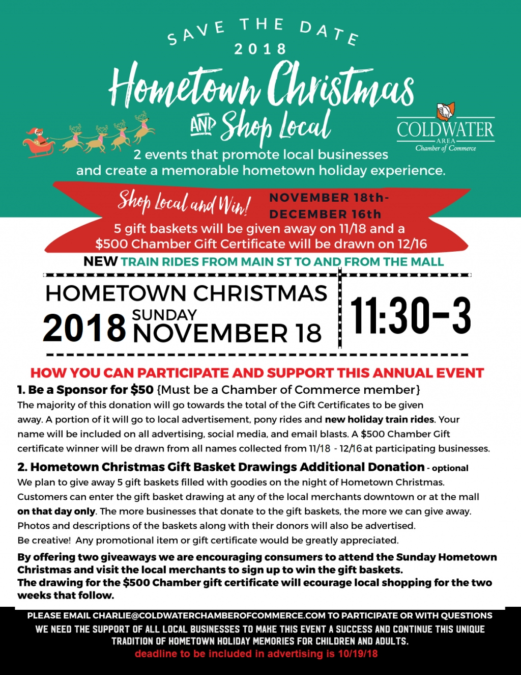 Chamber Business Hometown Christmas and Shop Local Registration