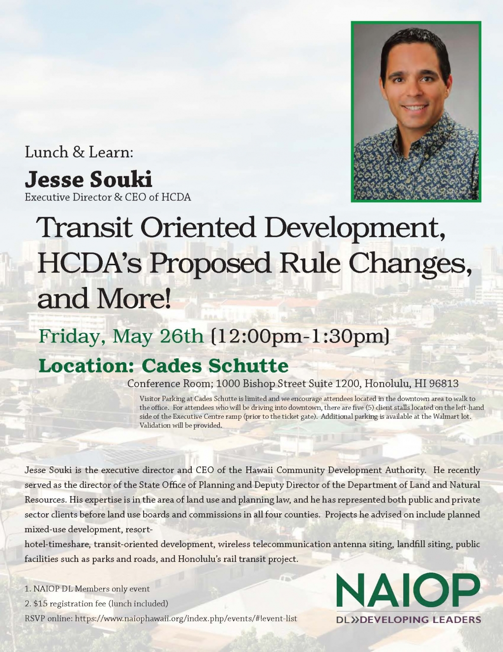 NAIOP Hawaii DL Member's Only Lunch & Learn - Transit Oriented