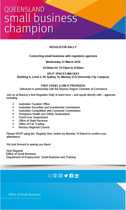Regulator Rally Mackay Br Office Of Small Business Qld Government