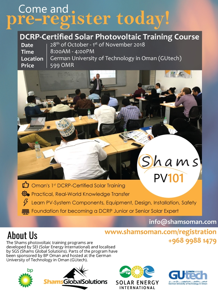 Solar training courses by Shams Global Solutions (SGS) PV101